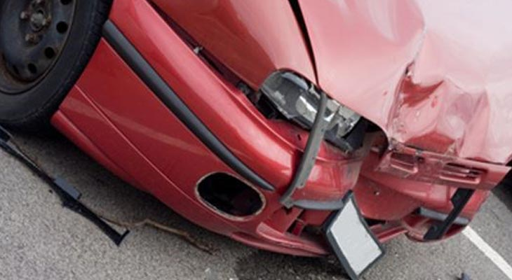 Car damaged from an auto accident
